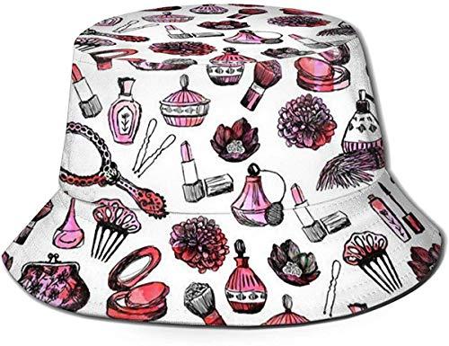 ZharkLI Hut Vintage Make-up Aquarell Pink Nagellack Mascara Blumen Girly Valentinstag Druck...