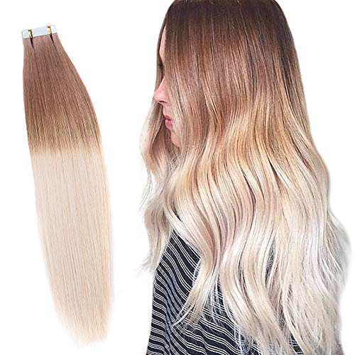 RINBOOOL Ombre Tape in Hair Extensions, 100% Real Natural Virgin Remy Human Hair, 14 Inch 40 Gram 20 Pcs, 2 Tone Roots Light Brown to Platinum Blonde