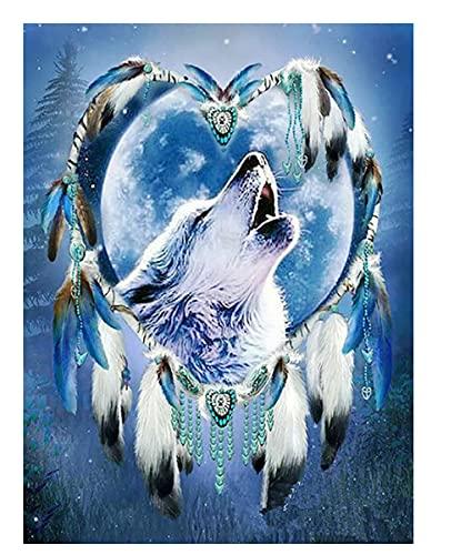 Diamond Painting Animal Wolf Cross Stitch Diamond Embroidery Dreamcatcher Mosaic Handcraft Handmade Gift 40 * 50cm (no Border)