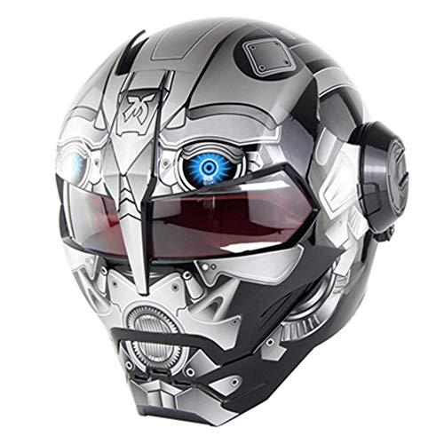 Evin Persönlichkeit kreative Neuheit Mountainbike Integralhelm - Transformers Iron Man Helm DOT-Zertifizierung öffentlichen Kreuzfahrt ATV Skateboard Mountainbike Helm,Gray,M