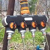 Lijincheng Riego Programado 4-Way Conector rápido golpecito de Agua de riego Splitter Agricultura Agua rápida Conector Herramientas de jardinería de Agua Industrial Control de V