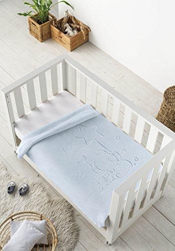 Pielsa 6655-62 | Manta bebe | Manta bebe recién nacido | Manta bebe invierno | Manta bebe meses | Manta bebe gofrado | Manta de cuna | Color Azul | Tamaño 80 x 110