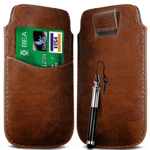 N4U Online Brown Card Slot Premium-PU-Leder Flip Pull Tab Hülle Tasche & versenkbaren Stift für Huawei Ascend Y210D