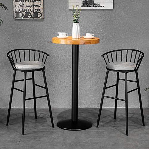 DXX-HR Barra de Tabla de Contador y la combinación de Silla, una Mesa Redonda de Madera con 2 sillas, Mesa y Taburete de Cuero de la PU Respaldo ergonómico, Apto for el hogar, Café Bar