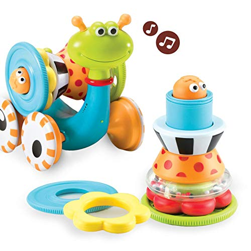 Yookidoo Musical Crawl N' Go Snail Toy with Stacker - Promotes Baby's Crawling and Walking. Rolls and Spins Its Shell As It Moves.