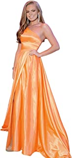 Jonlyc Women's One Shoulder A Line Satin Long Prom Dress with Slit