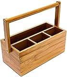 Relaxdays Schreibtischorganizer, aus Bambus, 4 Fächer, Henkel zum Tragen, Stiftehalter, HxBxT: 20 x 25 x 11,5 cm, natur