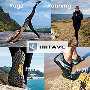 ALEADER hiitave Womens Minimalist Barefoot Trail Running Shoes Wide Toe Glove Cross Trainers Hiking Shoes Black/Purple 9.5 US Ladies