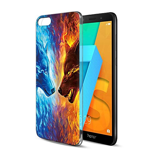 Pnakqil Coque HuaweiY5Prime2018 / Y52018 / Honor7S, Transparente avec Motif Souple Silicone TPU Ultra Mince Protection Case Cover pour HuaweiY5Prime/ Y5 / honor7S, 2 Wolves