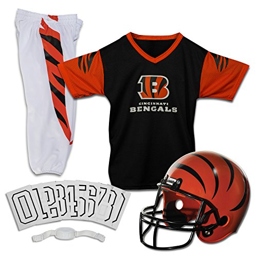 Franklin Sports Cincinnati Bengals Kids Football Uniform Set - NFL Youth Football Costume for Boys & Girls - Set Includes Helmet, Jersey & Pants - Small