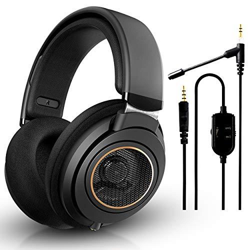 Philips SHP9600 com fio, circum-auricular, fones de ouvido, ajuste confortável, drivers de neodímio abertos de 50 mm (preto) + microfone acoplável NeeGo para fones de ouvido – Jogos e comunicação