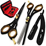 Saaqaans Professional Hair Cutting Scissors Set - Haircut Scissor for Barber/Hairdresser/Hair Salon + Thinning/Texture Hairdressing Shear for Beautician + Straight Edge Razor + 10 Blades with Case