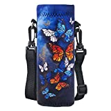 AORTDES Water-Bottle Sling-Case Bag Carrier Holder - 750ML/24oz Neoprene Water Bottle Sleeve Strap Cooler Cover Pouch for Men Women Kids Travel Camping Walking Hiking Running(Colorful Butterflies)