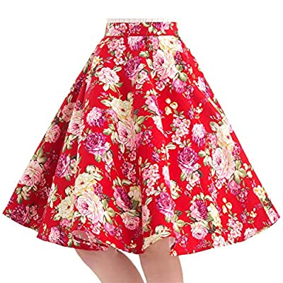 100% Cotton Polka Dot Floral 50s Vintage Retro Swing Full Circle Skirt