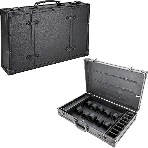 JustCase C4104 Barber Stylist Lock Attached Carrying Portable Travel Case Organizer Storage Display, Black Leatherette, 1 Count (C4104PVAB)