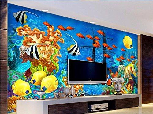 WH-PORP 3D behang aangepaste muurschildering niet-geweven muursticker 3 D zee wereld zinkende boot koraal vissen schilderen foto 3D muur muurschilderingen behang 450cmx300cm