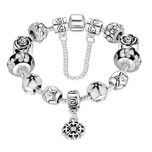 Catena Wowl Cuore Sicuro braccialetti d'argento placcato fascino con perle di vetro murano per la mamma regalo di colore nero
