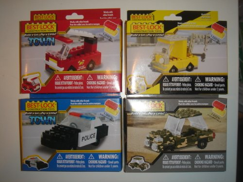 Best Lock Construction Toys Mini Sets of 4 - Military Jeep / Tow Truck / Police Car / Fire Truck