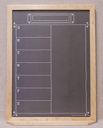 Black Industrial Chalkboard Weekly Dry Erase Wall Calendar - Faux Chalkboard White Board