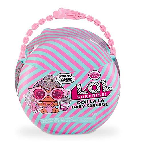 L.O.L. Surprise, Ooh La Babies Mega Ball 15 Überraschungen, Davon 1 Babies 16 cm, Handtasche, Make-up, Zubehör, zufällige Modellauswahl, Spielzeug für Kinder ab 3 Jahren, LLU87