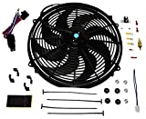 A-Team Performance Radiator Electric Cooling Fan 16inch Heavy Duty 12V Wide Curved 16' 8 Blades Thermostat Kit 3000 CFM Reversible Push or Pull with Mounting Kit