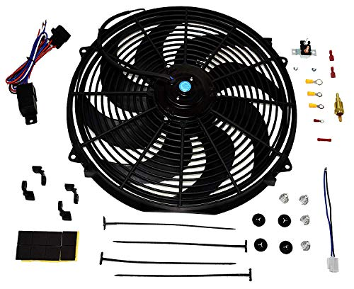 """A-Team Performance Radiator Electric Cooling Fan 16inch Heavy Duty 12V Wide Curved 16"""" 8 Blades Thermostat Kit 3000 CFM Reversible Push or Pull with Mounting Kit"""