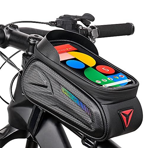 Bolsas de Bicicleta, Bolsa Impermeable para Bicicleta con Pantalla Táctil, Bolsa para Cuadro Bicicleta Montaña, Bolsa Táctil de Tubo Superior Delantero para Teléfono por Debajo de 7 Pulgadas