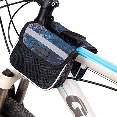 Bolsa para cuadro de bicicleta Tubo multifuncional camino de MTB delantera de la bicicleta bolsa de bicicletas de montaña Botella Teléfono estante bolsa bolsa delantera de la bicicleta tubo superior R