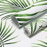 Papel pintado moderno con hojas verdes, adhesivo decorativo para muebles, decoración de pared, adhesivo de pared, papel fotográfico blanco y verde, para paredes, muebles, vinilo, 45 cm x 10 m