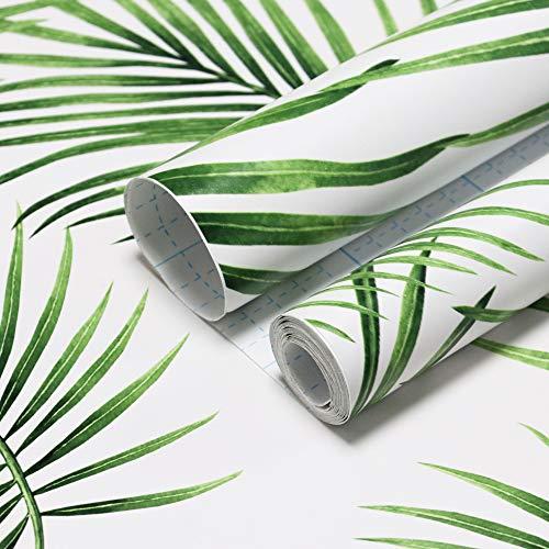 Grüne Blätter Tapete Moderne Möbelfolie Selbstklebend Wanddekoration Wandtattoo Dekorfolie Wandaufkleber Fotofolie Weiß Grün für Wand Möbel Tür Schrank Fenster Zimmer Vinyl 45cm X 10m
