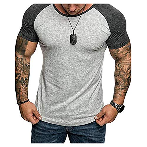 Folima Mens Casual Short Sleeve T-Shirts Bodybuilding Muscle Fitness Gym Workout T Shirt (XX-Large, 04 Gray&Black)