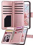 ULAK iPhone 7 Funda Carcasa sintético de Cuero 9 Ranuras para Tarjetas de la Cartera de la Cubierta de la Caja con Correa de Mano para el iPhone 7 4,7 Pulgadas (Oro Rosa)