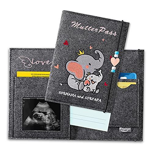 Fundas para Cartillas Sanitarias Bebé, Bordado de Elefante con Compartimentos para Guardar las Tarjetas del Seguro las Fotos de la Ecografía Y los Certificados de las Vacunas