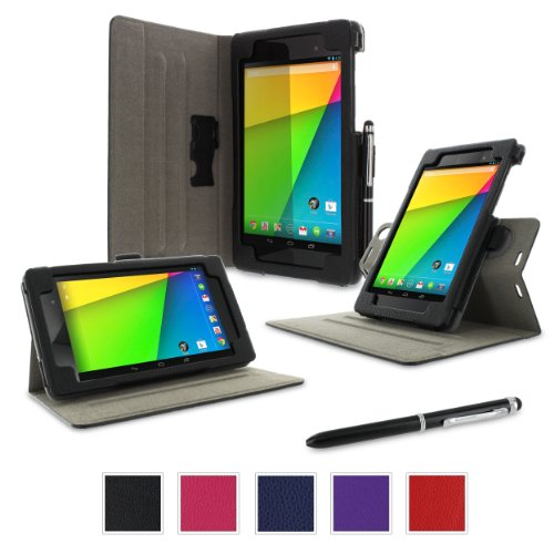 rooCASE Google Nexus 7 2013 Case, Nexus 7 FHD 2nd Gen Case, Dual View Slim Fit Leather PU Folio Stand Smart Auto Wake/Sleep Cover for Asus, Black