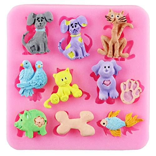 YUIOP Animales Cupcake Topper Fondant Molde Gato Perro Moldes de Silicona Cumpleaños Herramientas de decoración de PastelesMolde de Arcilla deChocolate y Caramelo