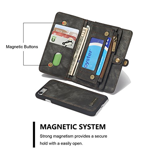 iPhone 8 Wallet Case,AKHVRS Handmade Premium Cowhide Leather Wallet Case,Zipper Wallet Case [Magnetic Closure]Detachable Magnetic Case & Card Slots for iPhone 7 (2016) & iPhone 8 (2017) - Black