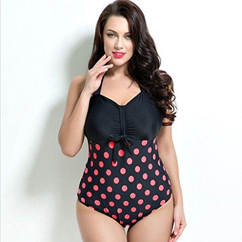 Baddräkt Kvinna bikini vintage våg punkt med bröstkudde underwire stor storlek hög midja endela baddräkt (Color : C, Size : 56)
