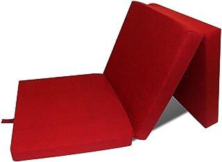 comprar comparacion vidaXL Colchón Plegable de Espuma Rojo Cama de Invitados Colchoneta de Camping