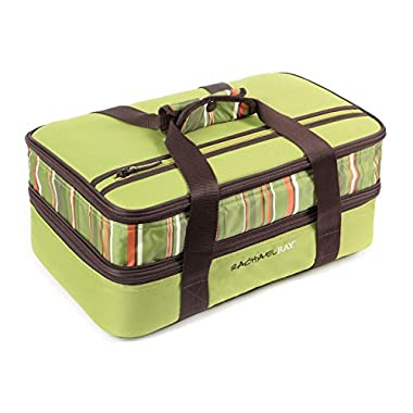 Rachael Ray Expandable Lasagna Lugger, Double Casserole Carrier for Potluck Parties, Picnics, Tailgates - Fits two 9 x13  Casserole Dishes, Green