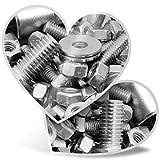 Impresionante pegatinas de corazón de 7,5 cm – acero inoxidable con tuercas y pernos divertidos adhesivos para portátiles, tabletas, equipaje, libros de chatarra, frigorífico, regalo genial #16091