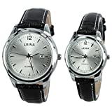 paracity (TM) Acero Inoxidable Cinturón de cuero Diamond Modelo parejas reloj Leina Juego de parejas reloj barrena Dial Fecha Unisex...