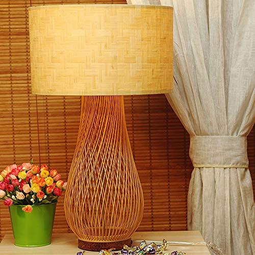 YQYL Lámpara de bambú Sencilla de cabecera del Estilo japonés lámpara de Mesa Creativa de bambú ratán Sala de Estudio de Madera Maciza Lámpara de Mesa Lámpara de Mesa Zen Linterna de Estilo Retro