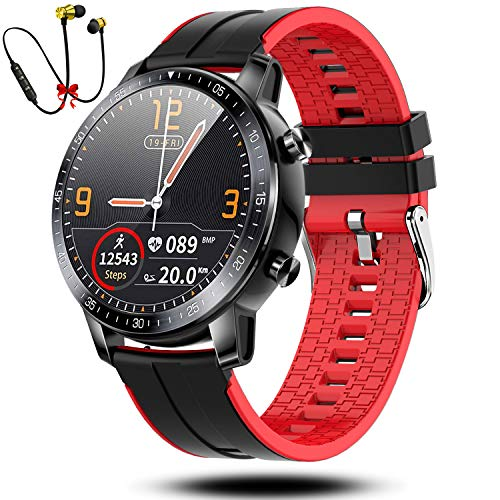 Smartwatch Reloj Inteligente Hombre Mujer Niños Monitor Pulso Cardiaco Pulsera Actividad Reloj Inteligente Bluetooth Cardio Podómetro Reloj Deportivo Impermeable Cronómetro para Android iOS(Rojo)