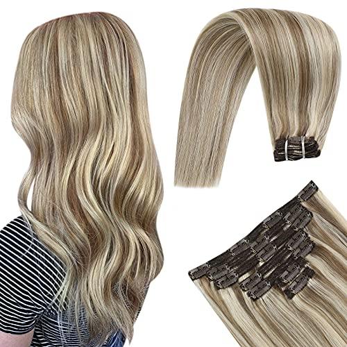YoungSee Remy Extension a Clip Cheveux Naturel Brun Clair Mixte Blonde Blanche Droit Soyeux Extension Clip Cheveux Humain Tête Pleine Extension Cheveu