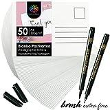 OfficeTree 50 x Tarjetas Postales en Blanco A6 - Postales para Pintar con 2 Rotulador Caligrafía y 12 Plantillas ABC para Realizar Lettering