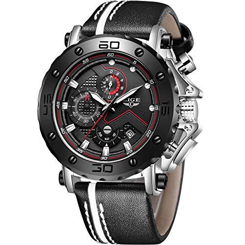 LIGE Reloj para Hombre Militar Deportivo Luminoso Cronógrafo A Prueba De Agua Moda Cuarzo Analógico Reloj para Hombre Plata Negro