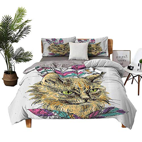 Cat Quilt Cover and Pillowcase Set Soft Skin-Friendly Twin Hand Drawn Boho Style Cat Image Ink Sketch Animal with Colorful Feathers Illustration Multicolor