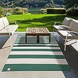 Jadorel - Alfombra exterior 152 x 213 cm, rectangular LINGAN reversible verde terraza y jardín, apta para calefacción por suelo radiante