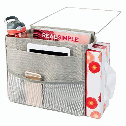 InterDesign Wren poche rangement pour lit - grande pochette de rangement lit avec 4 poches en coton et métal - gris clair