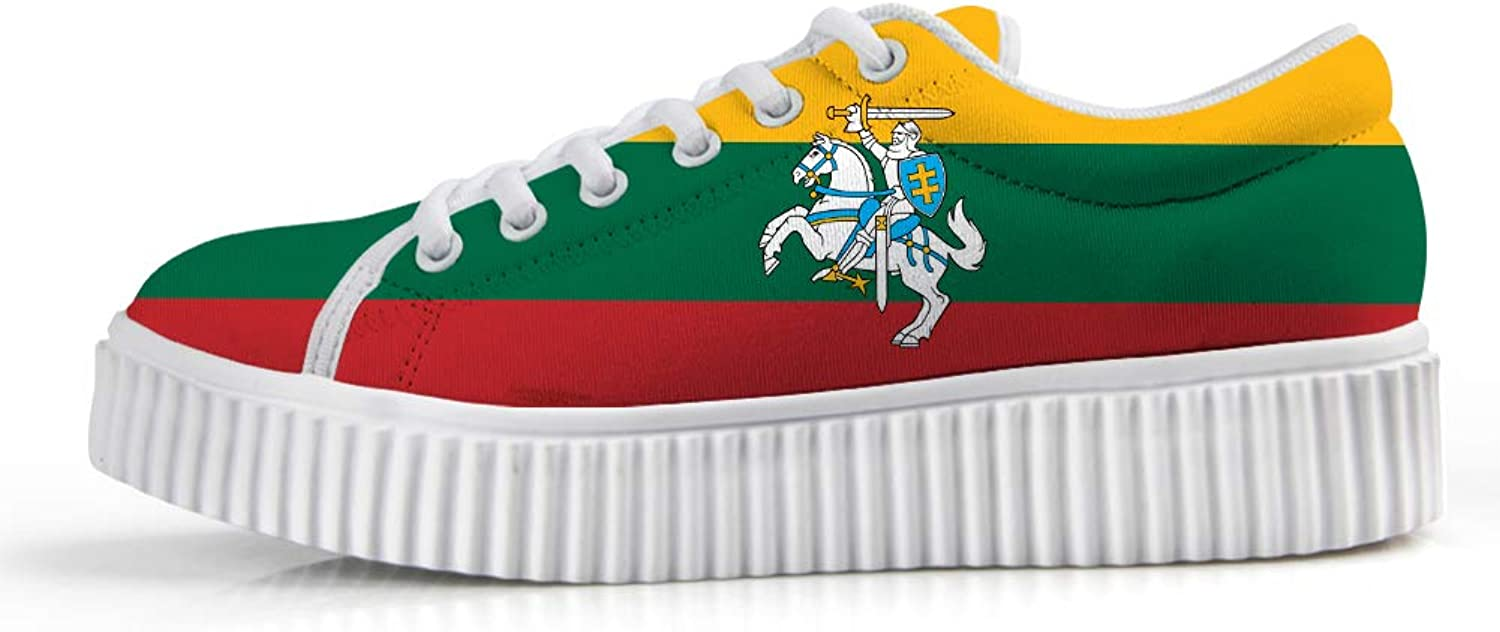 Owaheson Platform Lace up Sneaker Casual Chunky Walking shoes Low Top Women Lithuania Flag National Emblem